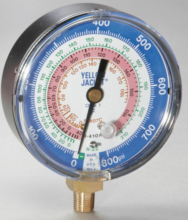Yellow Jacket 49134 Heat Pump 3 1/8 Low Side Replacement Gauge, R-22/407C/410A