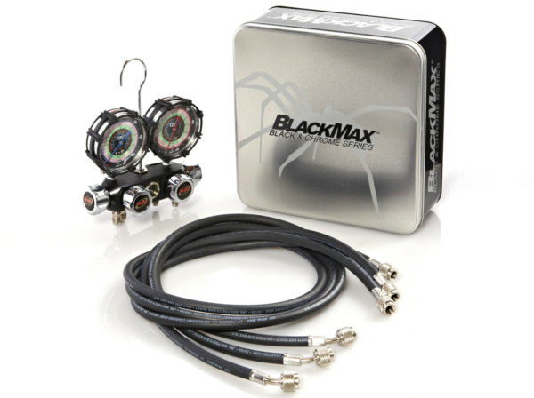 "CPS BlackMax® MV4H4P5Z  Manifold and Gauge Set, 3.125"" Class 1.0 Accuracy Gauges, 5' PRM Hoses"