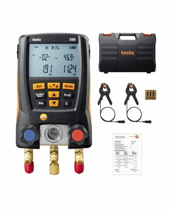 Testo 550 Refrigeration Digital Manifold Kit with two Clamp Probes