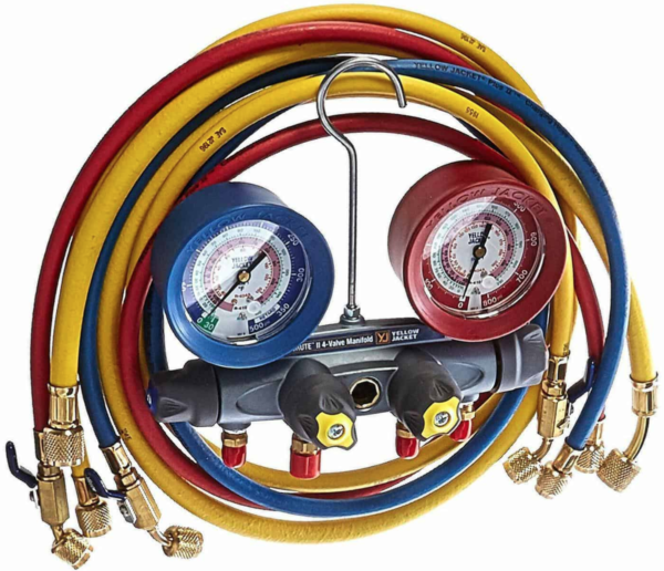 Yellow Jacket 46013 Brute II Test & Charging Manifold with 60″ Hose (Ball Valve)