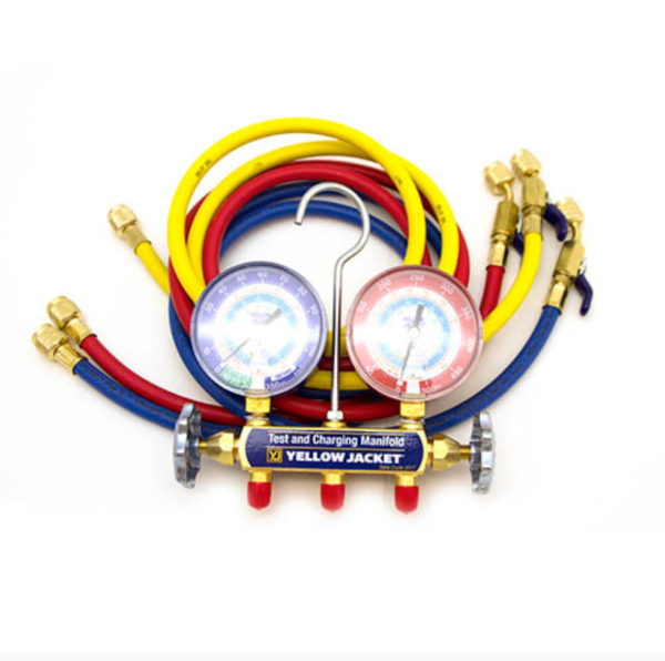 """Yellow Jacket 42205 Manifold 3-1/8"""" with 60″ Compact Valve Hoses R22/134A/404A, °F"""