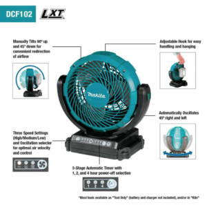Makita® DCF102Z 18V LXT® Lithium‑ION Cordless 7‑1/8″ Fan, Tool Only