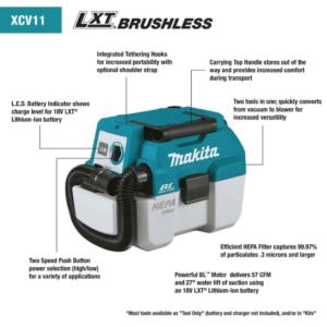 Makita® XCV11Z 18V LXT LI‑ION Cordless 2 Gallon Portable Dust Extractor/Vacuum