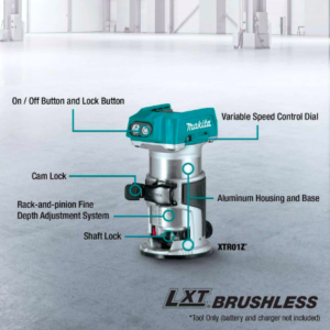 Makita®  XTR01Z 18V LXT® Lithium‑Ion Brushless Cordless Compact Router, Tool Only