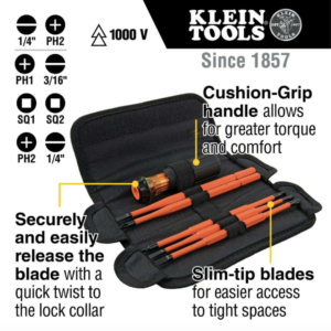 Klein Tools 32288 8-in-1 Interchangeable Screwdriver Set with Pouch