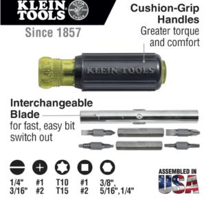 Klein Tools 32500 11-in-1 Multi Bit Screwdriver/Nut Driver with Cushion Grip Multi Purpose