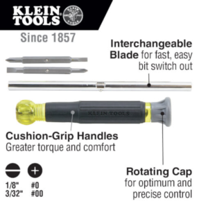 Klein Tools 32581 4-in-1 Electronics Screwdriver with Rotating Cap, Phillips, Slotted Bits