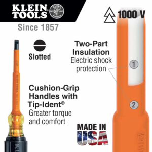 """Klein Tools 602-4-INS 1/4"""" Cabinet Tip Insulated Screwdriver, 4"""""""