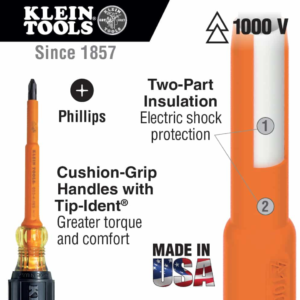 """Klein Tools 662-4-INS Insulated Screwdriver, #2 Square, 4"""" Shank"""