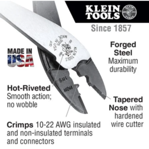 """Klein Tools 1005 9"""" Crimping & Cutting Tool for Connectors (10-22 AWG)"""