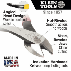 "Klein Tools D248-8 8"" High-Leverage Angled Head Diagonal-Cutting Pliers"