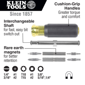 Klein Tools 32500MAG-11-in-1 Magnetic Multi-Bit Screwdriver/Nut Drive