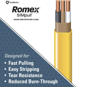 Southwire 28828221 Romex SIMpull® Cable With Ground, Yellow, 12/2 Awg, NM-B, 25 Ft