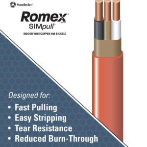 Southwire 28829021 Romex SIMpull® Cable With Ground, Orange, 10/2 Awg, 25 Ft