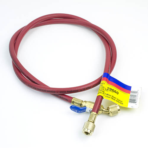 """Yellow Jacket 29660 PLUS II 1/4"""" HVAC Red Charging Hose 60"""" with Compact Ball Valve End"""