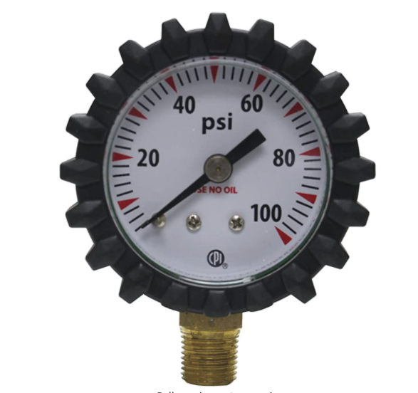 "Uniweld G49D Oxy 1 1/2"" 100 PSI Gauge Oxygen Replacement Delivery Gauge with Protective Rubber Gauge Boots"