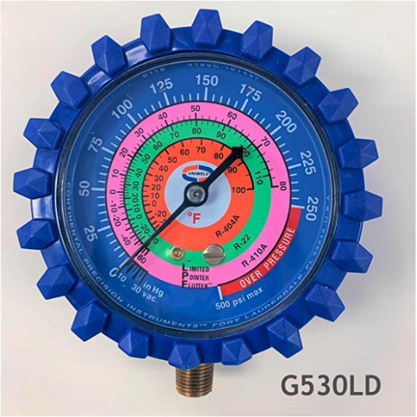 "Uniweld G530LD Refrigerant Gauge 1/8"" in NPT, Brass Fitting Material"