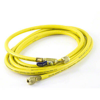 """Yellow Jacket 29260 PLUS II 1/4"""" HVAC Yellow Charging Hose 60"""" with Compact Ball Valve End"""